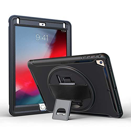TechCode iPad Air 3 10.5 Hülle 2019, iPad Pro 10.5 Hülle, Hybrid stoßfest Robustes, rutschfestes Silikon-Fallschutzgehäuse Mit Kickstand-Schutzhülle für iPad Pro 10,5 Zoll (Schwarz) (Kinderfreundlich Ipad Fall)