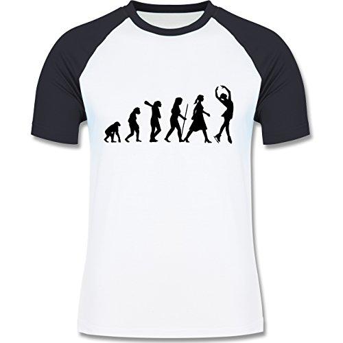 Evolution - Eisläuferin Evolution - zweifarbiges Baseballshirt für Männer Weiß/Navy Blau