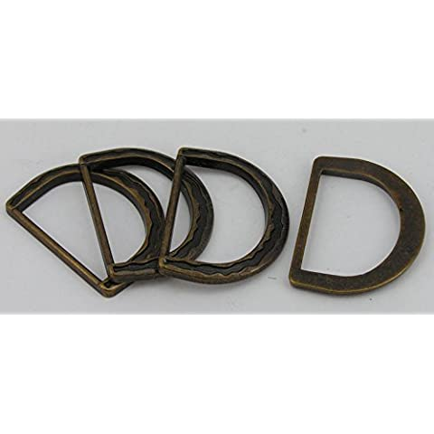 8anelli D piatto rotondo ottone antico 25mm (33x 25mm)