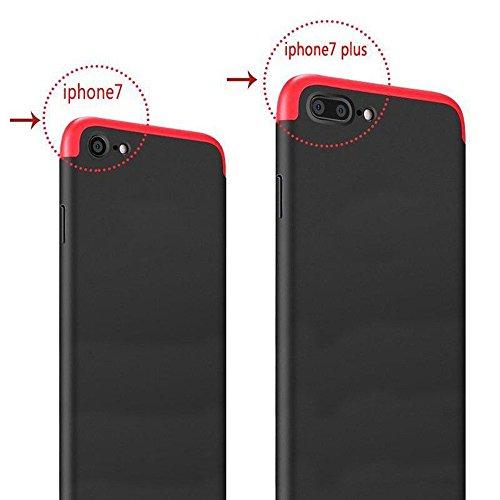 iPhone 7 Hülle, Ultra Thin Hybrid 360 ° Komplettschutz Shockproof Hard Back [Hybrid Hard PC] Voller Deckung Schutzhülle Cover Für Apple iPhone 7 + Free Display Schutz (iPhone 7, Black/Red) Red