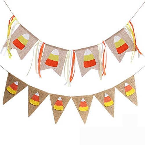 Candy Corn Banner Jute Wimpelkette für Ernte Herbst Party Thanksgiving Halloween Party Favor Banner Dekoration 2 Stück