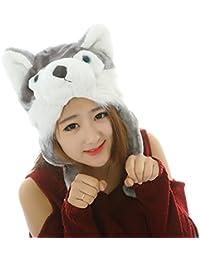 Amurleopard Bonnet chapeau en peluche tete de animaux pour hiver deguisement