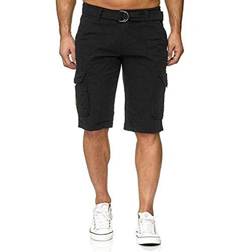 Binggong Herren Cargo Shorts Sport Einfarbig Sweatshortsmit Vielen Taschen,Männer Bermuda Trainingsshorts Sporthose Regular Fit + Gürtel -