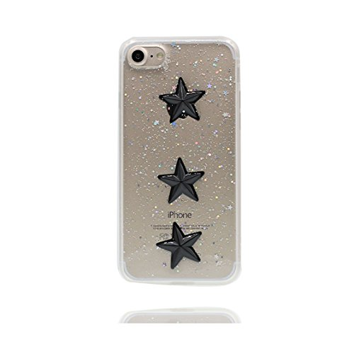 Custodia iPhone 7 Plus, Silicone trasparente Case iPhone 7 Plus copertura Cover e ring supporto Shell Graffi Resistenti - 3D Bling durevole Color - 3