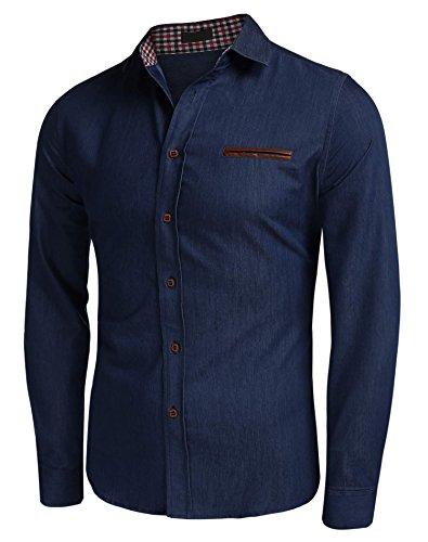 Lonlier Herren Jeanshemd regular fit hemd Denim Langarmhemd Cowboy Freizeit Dunkelblau