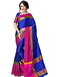 Rajeshwar Fashion Women's Cotton Silk Saree (AANGI BLUE NEW_Blue)