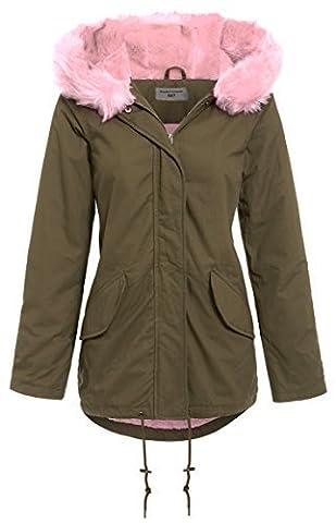 SS7 Women's Faux Pink Fur Parka Coat, Sizes 8 to 16 (UK - 10, Khaki / Light Pink)