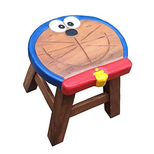 xinrongqu Kleiner Hocker - Kinderwaschbecken Aus Massivem Holz Kleine Bank Nach Hause Babyschuhe Bank Großes Gesicht Jingle Cat -