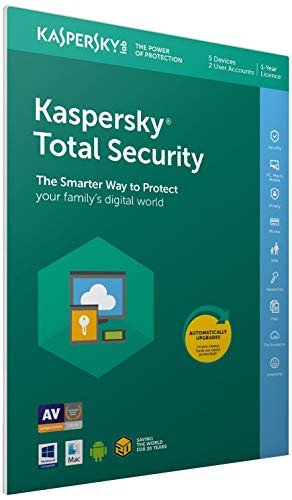 Kaspersky Total Security 2018 | 5 Dispositivi | 1 Anno | PC/Mac/Android | Imballaggio apertura facile certificato