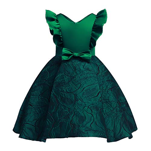 Mädchen Prinzessin Kleide | MEIbax Floral Baby Prinzessin Brautjungfer Pageant Kleid Geburtstag Party Hochzeitskleid Blumenmädchenkleid Weihnachten Babybekleidung (100/12-24 Monate, YY-Grün)