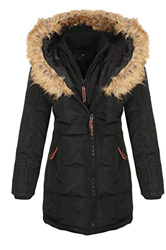 Geographical Norway Damen Jacke Winterparka Belissima XL-Fellkapuze black L