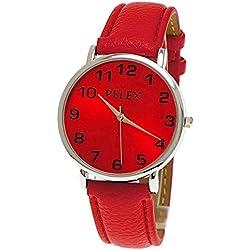 "NY London designer Damen Armband Uhr ""Colour World Collection"" Rot,Silber,klassische Damenuhr inkl. Uhrenbox"