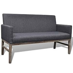 vidaxl holz sitzbank stoffbezug wartezimmer polsterbank loungebank r ckenlehne. Black Bedroom Furniture Sets. Home Design Ideas