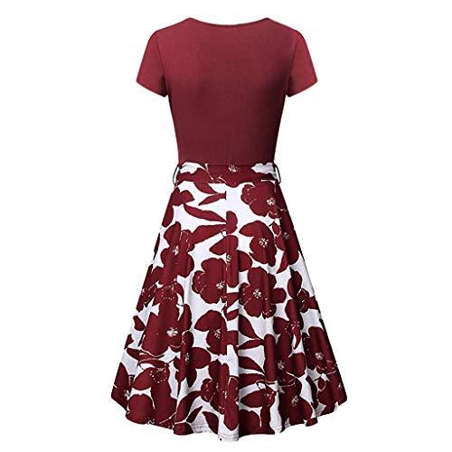 CUTUDE Damen Kleider Sommer Kurzarm Cross V-Neck Kleider Vintage Elegant Ausgestelltes A-Line Kleid (Rot, Medium)