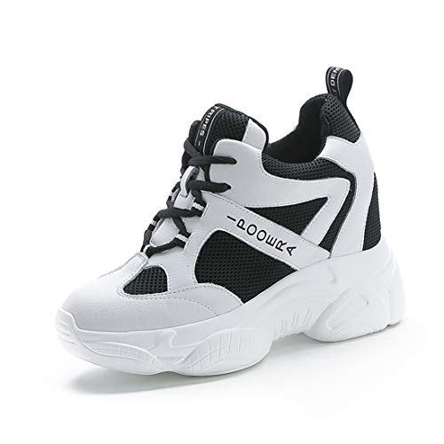 TQGOLD® Sneakers Zeppa Donna Scarpe da Ginnastica con Zeppa Interna Sportive Fitness Basse Scarpe 9CM(Nero,37 EU)