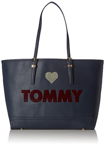 Tommy Hilfiger Honey Ew Tote Borsa Messenger, 50 cm, Midnight Embroidered