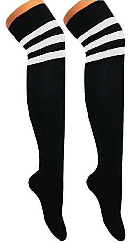 Kostüm Fußball Mädchen - Momo&Ayat Fashions Unisex Herren Damen Mädchen Jungs über Knie Schiedsrichter Socken Sport oder Fancy Dress Rugby Fußball (Onesize (Schuhgröße 32-34), Schwarz mit weißen Streifen)