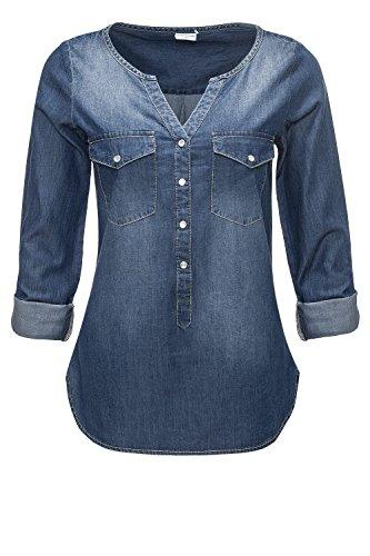 Jacqueline de Yong Damen Jeansbluse Langarmbluse Tunika (XS, Medium Blue Denim)