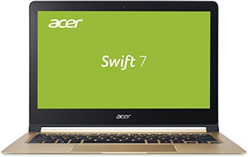 Acer Swift 7 (SF713-51-M319) 33,8 cm (13,3 Zoll Full HD IPS) Notebook (Intel Core i5-7Y54, 8 GB LPDDR3 RAM ,256 GB SSD, Intel HD Graphics 615, USB 3.1, HD Webcam, Win 10 Home) Midnight Black/Champagne 13-zoll-laptops Windows 7