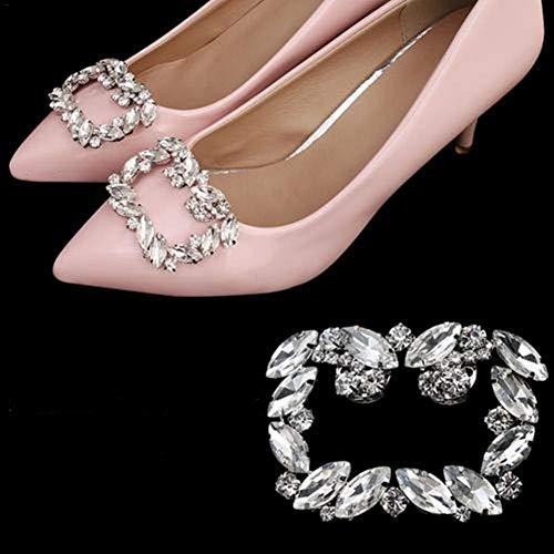 Hedear 1 par de Zapatos de Diamantes de imitación de lágrima para Mujer Clips de Hebilla de Cristal...
