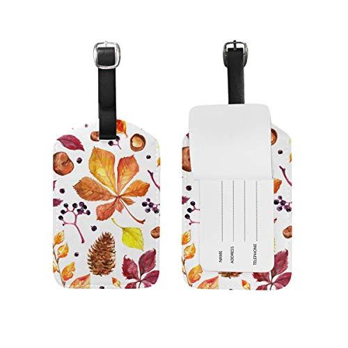 Herbst Ahorn Blätter Aquarell Gepäckanhänger PU Leder Tasche Koffer Gepäck Label 2 Stück Set -