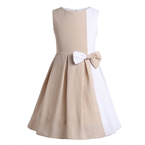 YiZYiF Girls' Kids' Color Block Contrast Pleated Skirt Everyday Party Holiday Dress With Bow Tie