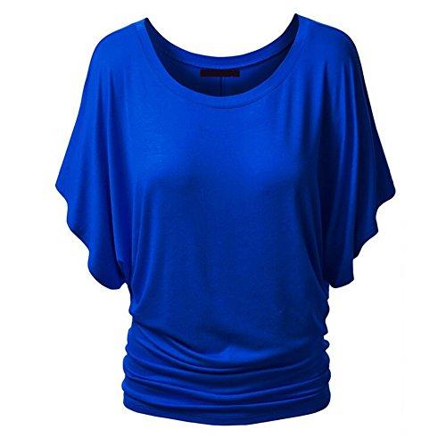 iBaste Sommer Damen Rundkragen Kurzarm Bluse Fledermaus Batwing T-Shirt Tops Blau