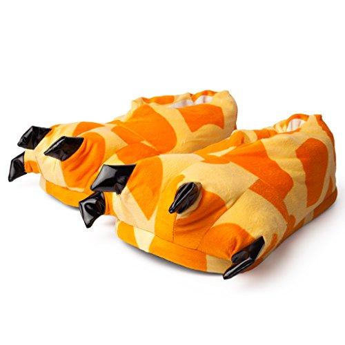 (Katara 1773 Tatzen Hausschuhe in verschiedenen Designs - kuschelig weich - warme Schlappen, Pantoffeln Giraffe Rilakkuma Erwachsene Kinder - Onesize passend zu Jumpsuit, Onesie Karneval/Faschings-kostüm, Orange/Beige, 29-36)