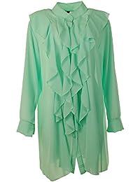 75ac5622beee Gracious Girl Frauen Italienisch Taste Hoch Rüschen Vorne Chiffon Damen  Tunika Shirt Top Plus Größen