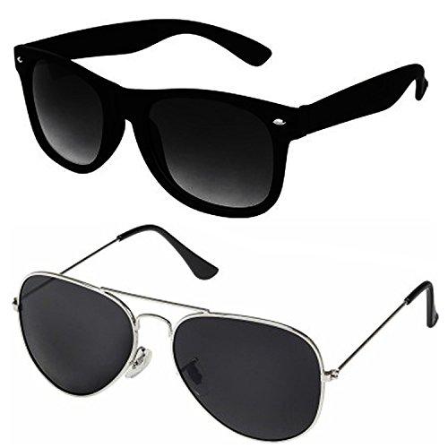 Silver Kartz Classic Combo Wayfarer Aviator Unisex Sunglasses (AV033|40|Black)