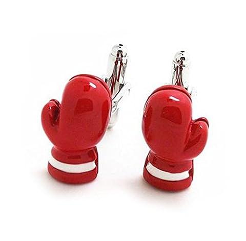 Gudeke Gants de boxe rouge Boutons de manchettes Boxers fans de manchette champion de boxe française Favorite shirt avec un sac-cadeau