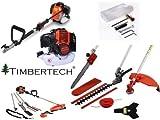 Timbertech - MFS52orange - Podadora multifunción - Con múltiples accesorios - Cortasetos, podadora de altura, desbrozadora