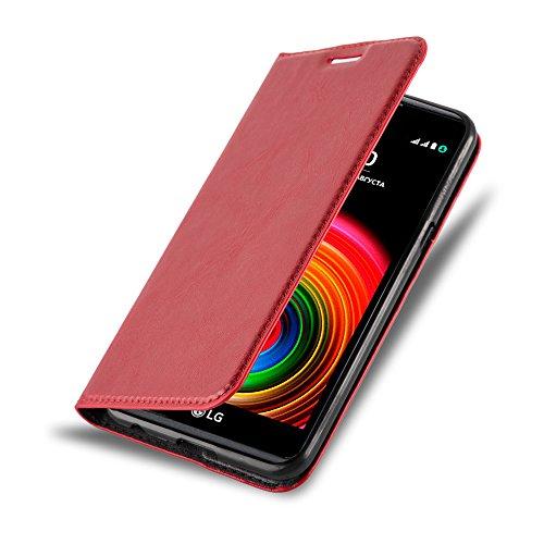 Cadorabo Hülle für LG X Power - Hülle in Apfel ROT – Handyhülle mit Magnetverschluss, Standfunktion und Kartenfach - Case Cover Schutzhülle Etui Tasche Book Klapp Style