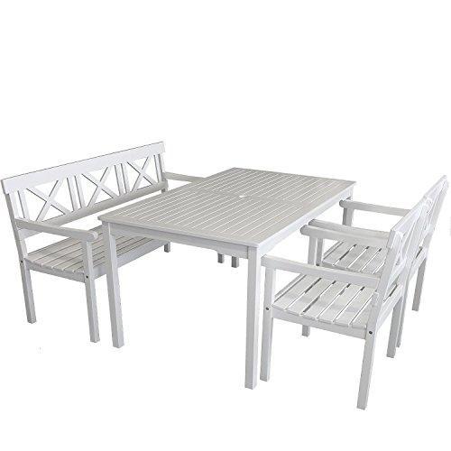 4-teilige Gartengarnitur Gartentisch 150x90cm + 3-Sitzer Gartenbank Sitzbank + 2x Gartensessel aus FSC zertifiziertem Eukalyptusholz Sitzgruppe Sitzgarnitur