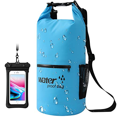 Dry Bag,10L,20L Wasserdichte Tasche,Wasserdichter Packsack,Wasserdichte Beutel mit Wasserdichter Handybeutel,Für Ruder,Boot und Kajak,Rafting Angeln,Camping und Snowboarden (Blau, 10L) -