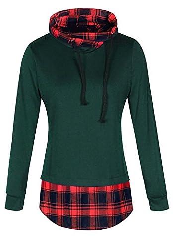 ELFIN Femme Sweat shirt a Capuche 2 en 1 a Carreaux Tunique Hoodie Sport Casual Manche longue Manteau Veste Jumper Sport Tops