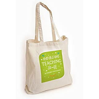 Artylicious Important Teaching stuff, Teacher thank you gift, Cotton Tote shopping bag