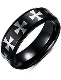 BOBIJOO Jewelry - Bague Alliance Anneau Croix des Templiers Homme Acier  Inoxydable Noir ea269b36bd2c
