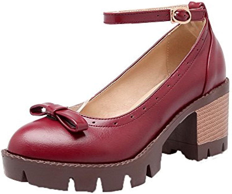 AalarDom Mujeres Hebilla Tacón Medio Puntera Cerrada PU Sólido Zapatos de Tacón