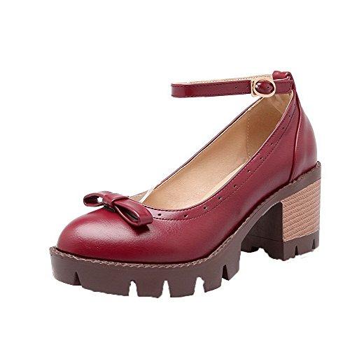 VogueZone009 Femme Couleur Unie Microfibre à Talon Correct Chaussures Légeres Rouge
