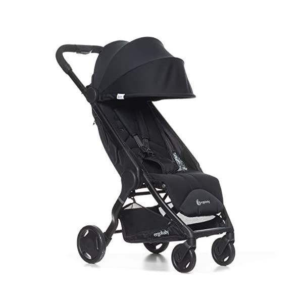 ErgobabyMetro Lightweight Buggy Stroller Pushchair with Sun-Shade Canopy One Hand Foldable, 6Months to 18kg Toddler (Black) Ergobaby A stroller that knows no limits. The ErgobabyMetro Strollers are ultra compact and fits effortlessly into small car boots and most aeroplane luggage compartments. An ideal baby and infant travel system. Baby comfort without compromise - soft, comfortable Stroller packed with plush, cushy padding that supports baby's head, back, bottom and legs . Advanced multi-zone support, and an adjustable footrest give your baby a comfortable seat. The gentle suspension and the shock absorbing PU tyres effortlessly tackle challenges such as kerbs, cobblestones and paving stones. Padded handle and strap. Storage tray for bags and shopping. 1