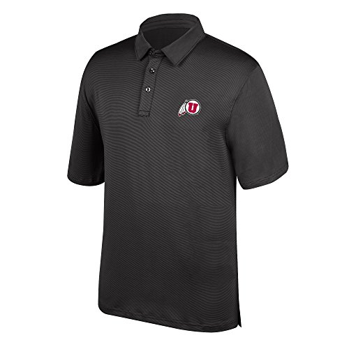 J America NCAA Men's Utah Utes Yarn Dye Striped Team Polo Shirt, XX-Large, Black -