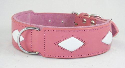 Collier pour chien en cuir rose avec 4 formes Diamant Blanc à installer 48,3-55,9 cm cou
