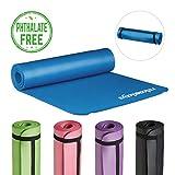 Relaxdays Yogamatte gepolstert, 1 cm dicke Übungsmatte, Für Pilates, Aerobic, Gymnastik, HBT: 1 x 61,5 x 182 cm, blau
