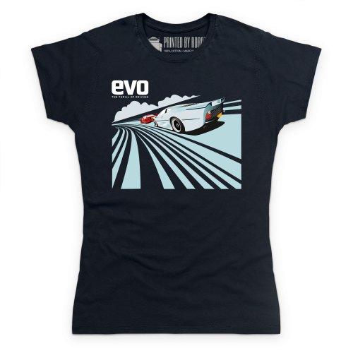 Evo Jaguar XJ220 White Logo T-Shirt, Damen Schwarz