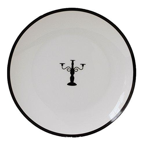 Fine Bone China 20,3cm Brot und Butter Teller, schwarz, Kerze, rund, Icon, Set 4 Bone China Bread Butter Plate