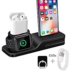 Wonsidary Stand for iWatch, Silicone Chargeur Stand Station Phone AirPods iWatch, d'accueil de iWatch Series 4/3/2/1 AirPods i Phone X 8 8 Plus 7 6 iPad Mini