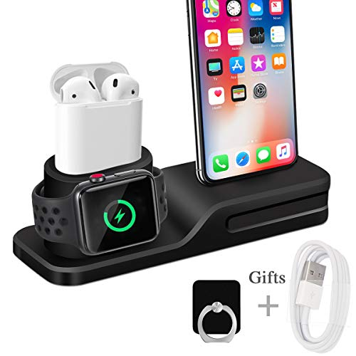 Wonsidary Soporte de Carga para Apple, 3 en 1 Estación de Carga Silicona Base de Carga Soporte Cargador para Apple Watch Series 4/3/2/1, Airpods, iPhone Xs/Xs Max /Xr/X/8/7 Plus/6 (Negro-1)