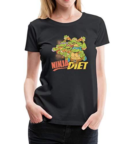 Spreadshirt TMNT Turtles Ninja Diet Pizza Frauen Premium T-Shirt, M (38), Schwarz