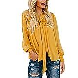 SANFASHION Femme Chemise Col Bandage Chic, Manche Longue Lanterne Mode,Tee Shirt en Dentelle Couleur Unie Loops Shirt Blouse - Jaune,M...